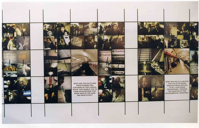 Stephen Willats: Going Home, 36 panels each 49cm x 49cm  Photographic prints, Xerox, acrylic paint on card.  Audio recordings