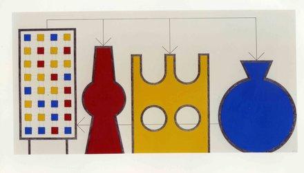 Stephen Willats: Cybernetic Still Life No 5, Conceptual Tower Series No 40, 2006.  134cm x 79cm.  Poster paint, pencil on paper