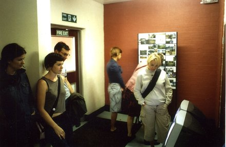 Stephen Willats: Meeting of Minds Liverpool, A Display Board and monitors showing the films in the blocks of flats