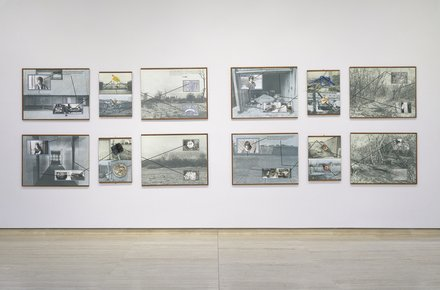Stephen Willats: Pat Purdy And The Glue Sniffers Camp, Eight panels 102cm x 76.5cm + four panels 51cm x 66cm Photographic prints, photographic dyes, gouache paint, Letraset text, ink, felt tip pen and found objects