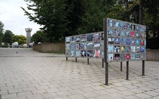 Stephen Willats: In and Out the Underworld, Display screens with photographic mosaic at the entrance to the underpass